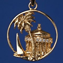 Casino Pendant 14K Gold Collection - Large - with 8 Diamond Paves