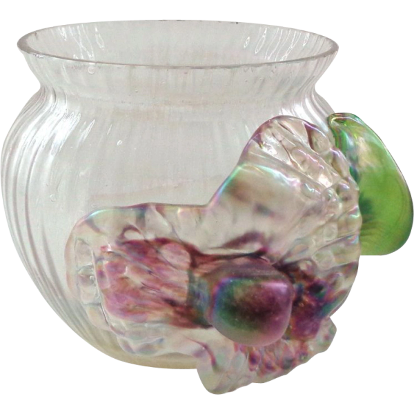 Masterful Antique Art Glass Vase Bowl With Applied Decoration That