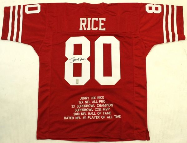 fbe9fd57afc Jerry Rice Autographed San Francisco 49ers Stat Jersey