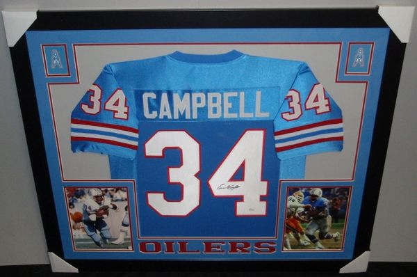 5091ff3cf Earl Campbell Autographed Houston Oilers Custom Framed Jersey