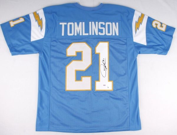 new product f60f0 91ec5 San Diego Chargers LaDainian Tomlinson Autographed San Diego Chargers  Jersey, Inscribed