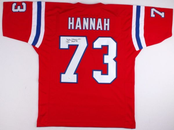John Hannah Autographed New England Patriots Throwback Jersey ... f2df8d9e4