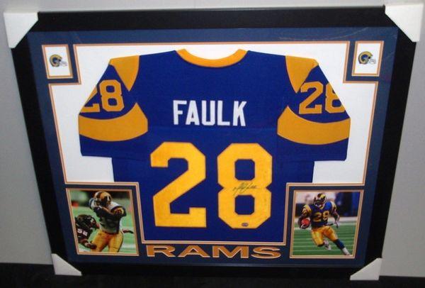 6e8680a2 St. Louis Rams Marshall Faulk Autographed Custom Framed Jersey, Mounted  Memories COA