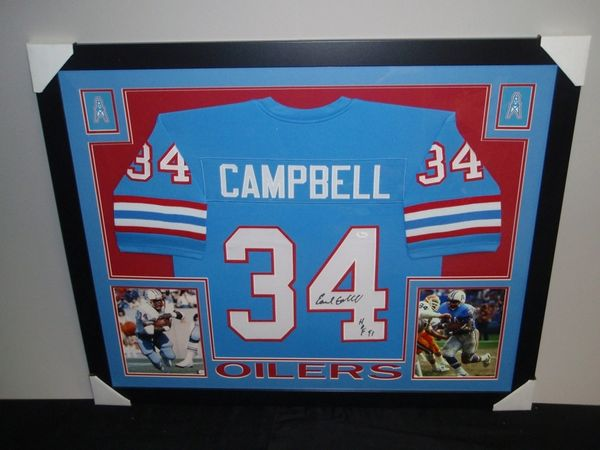 959ac6508d6 Earl Campbell Autographed Houston Oilers Custom Framed Jersey ...