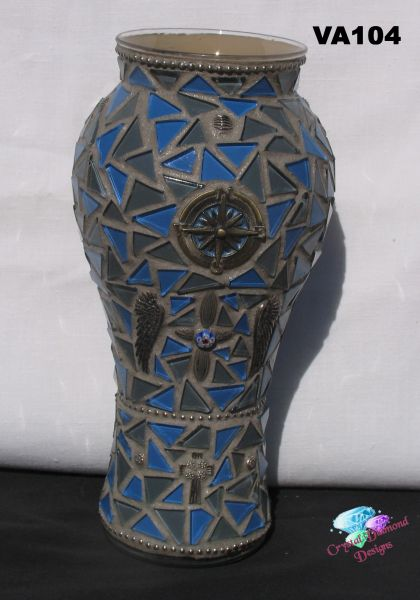 Vase, N.W.S.E. with wings Glass Mosaic Vase,Handmade by the Artist VA104