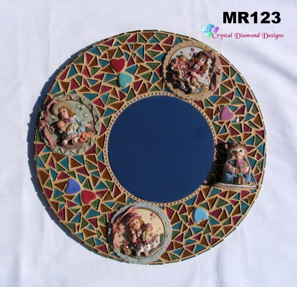 Little Girls Mosaic Wall Mirror, Handmade Look Great in your Home MR123