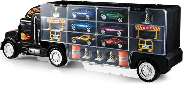 b35f4856f2abd Toy Truck Transport Car Carrier - Toy truck Includes 6 Toy Cars and  Accessories - Toy