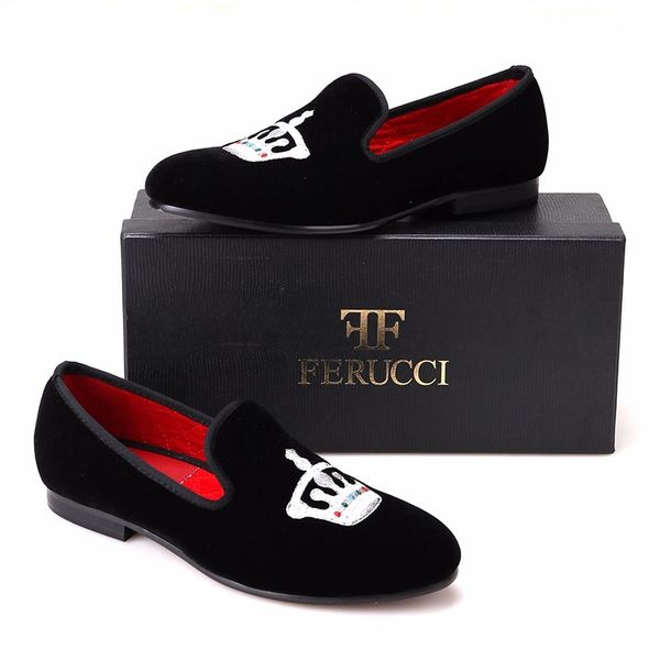 84eaefa854f BLACK VELVET LOAFER SILVER CROWN.