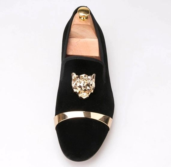 7a3e09d6c7a6 BLACK VELVET GOLD BUCKLE GOLD LION.