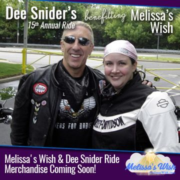 Melissa's Wish and Dee Snider Ride Merchandise Coming Soon!