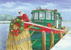 """""""Captain Santa Dockside on Jessica C."""" Christmas Card #5"""