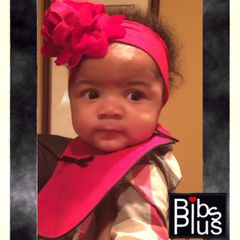 -Handcrafted Triple Layer Black & Red Cotton Bib with Petite Black Bow