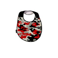 -One of a Kind Handcrafted Triple Layer, Black, White & Red Camo Bib