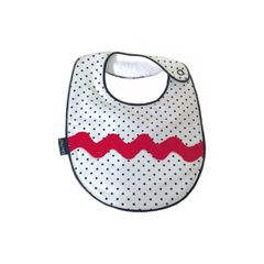 -One of a Kind Handcrafted Triple Layer, White with Black Petite Dots, Splash of Red