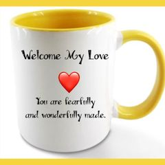 Glossy 11 oz Message Coffee Mug - White w/Yellow Inner