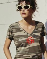Alternative Camo Monogram Everyday Printed Cotton Modal V-Neck T-Shirt