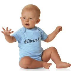 -Infant Baby Rib Short Sleeve Bodysuit - #Blessed
