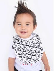 -Handcrafted Triple Layer Black & White Bows and Glasses Baby Bib