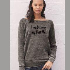 Bella Gray Women's Sponge Fleece Wideneck Message Sweatshirt