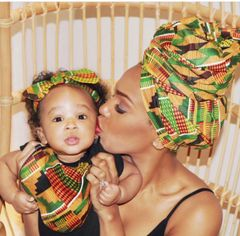 -Handcrafted Triple Layer Kente Baby Bib & and Baby Headwrap Set