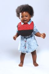 -Hand-Handcrafted Triple Layer Red with Black Polka Dots Bib