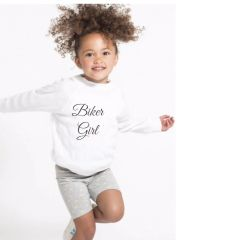 Toddler White Biker Girl Long Sleeve Fine Jersey Tee