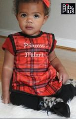 Handcrafted - Red With Black Plaid Full Coverage Baby/Toddler Apron