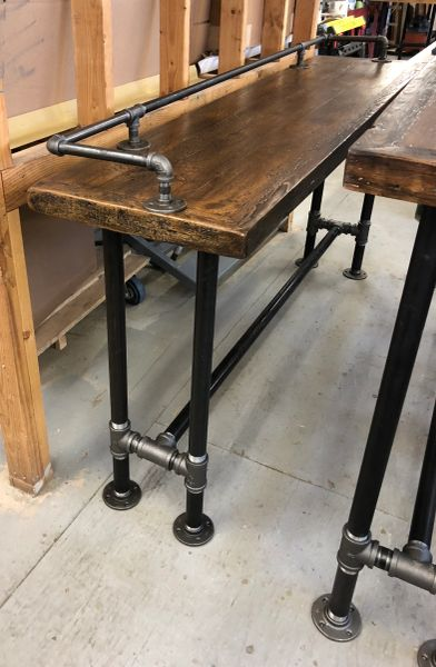Console Table Reclaimed Wood With Pipe Legs And Pipe