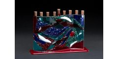 Cohen - Watercolor S curve menorah, red, turquoise & blue w/ solid base