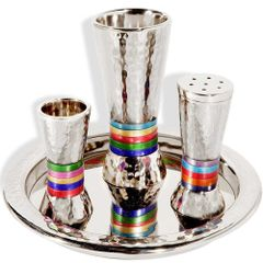 Emanuel - Jewel-tone Hammered Havdalah Set with Tray