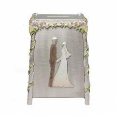 Quest -Painted Bride & Groom Tzedakah Box