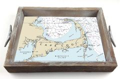 Customizable Nautical Chart Serving Tray w/ Interchangeable Insert