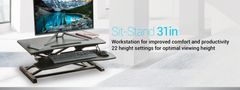 "Sit Standing Desk Height Adjustable Ergo Riser ADR 31.5"" Wide - Black For Monitor / Computer / Laptop"
