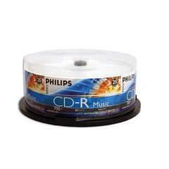 Philips CD-R Music Digtial Audio 52X 80min Cake Box 25Packs (CD80R551)