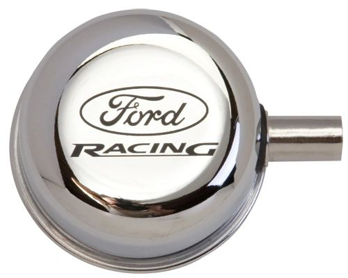 CHROME BREATHER CAP W/ FORD RACING LOGO, M-6766-FRVCH