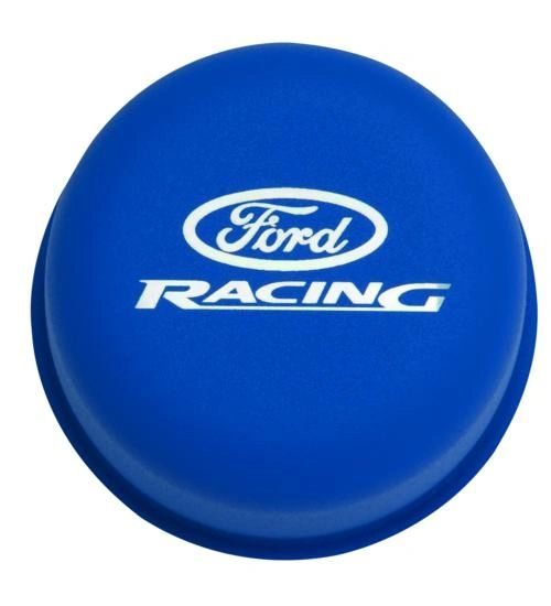 BLUE BREATHER CAP W/ FORD RACING LOGO, M-6766-FRNVBL