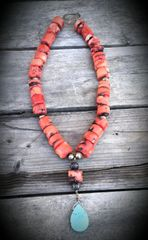 Corral and Sterling Necklace