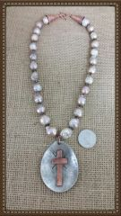 "Large Fresh Water ""Boroque"" Pearls Silver Plate and Copper Necklace"