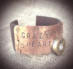 """Crazy Heart"" Leather, Copper and Shotgunshell Cuff"