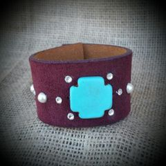 Burgundy Leather Embellished Cross Cuff