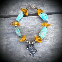 Genuine Turquoise, Amber and Sterling Horned Toad Bracelet