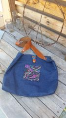 Lined Denim Bag w Leather Strap