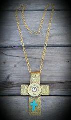 Large Brass Cross Pendant