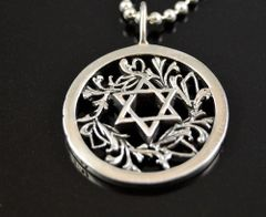 """STAR OF DAVID"" Sterling Silver Circle Pendant .925"