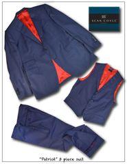 """Patriot"" Navy Sharkskin 3 piece Suit"