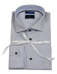 """Ronin One"" stretch light grey micro plaid shirt"