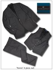 """Ronin"" Sharkskin Charcoal Grey 3 Piece Suit"