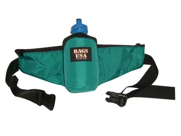 fanny pack with water bottle holder,one 22-oz bottle,side zipper pockets.