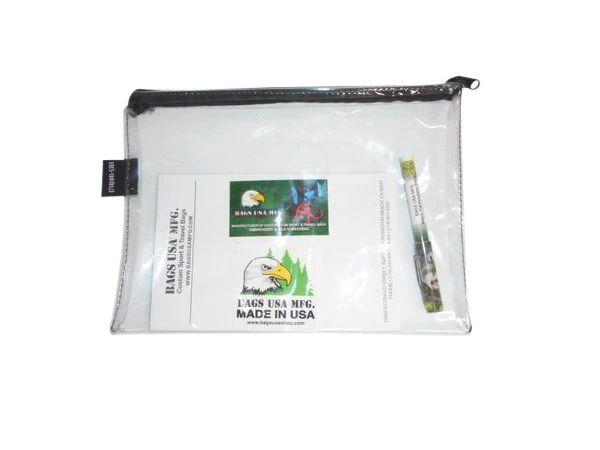 Clear vinyl travel bag, clear vinyl deposit money bag Made in USA.