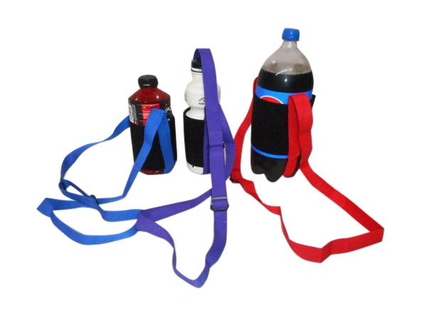 Water Bottle holder 1 size fits all, strap closure Adjustable shoulder strap.